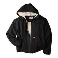 Dickies Men's Sanded Duck Sherpa Lined Hooded Jacket Black