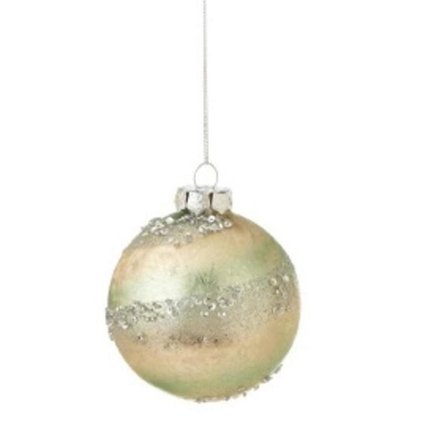 Pastel Dreams Elegant Pale Mint Green and Pearlescent Spiral Sequin Encrusted Glass Ball Christmas Ornament 3""