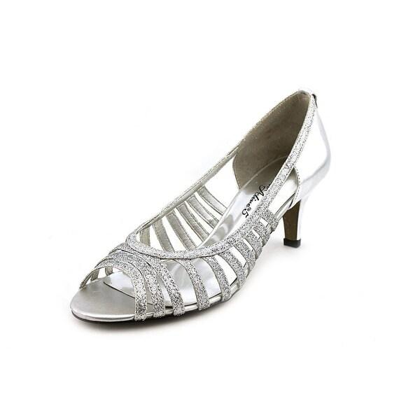 Easy Street Sparkle Women Peep-Toe Synthetic Silver Heels