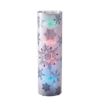 """24"""" Battery Operated Transparent Snowflake Styles LED Color Changing Lighted Christmas Lantern"""