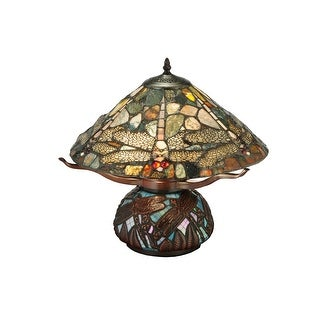 16.5 Inch H Dragonfly Cut Agata Table Lamp