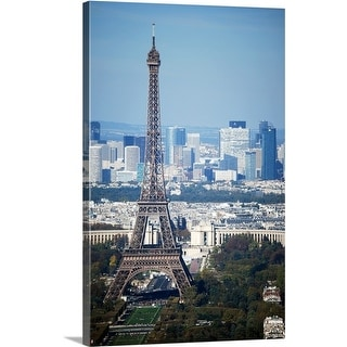Premium Thick-Wrap Canvas entitled View of Eiffel Tower from top of Montparnasse Tour in Paris France.