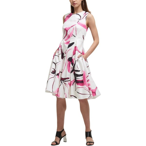 DKNY Womens Party Dress Cotton Printed