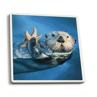 Sea Otter - LP Artwork (Set of 4 Ceramic Coasters - Cork-backed, Absorbent)