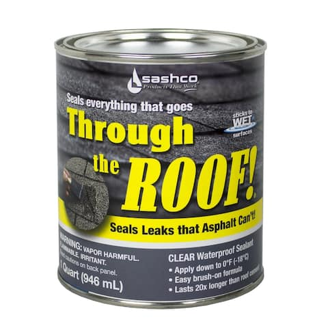 Sashco 14023 Through the Roof! Elastomeric Roof Sealant, 1 Qt, Clear