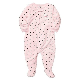 Carter's Little Girls' 1 Piece Micro-fleece Pajamas Bunnies Hearts 4T