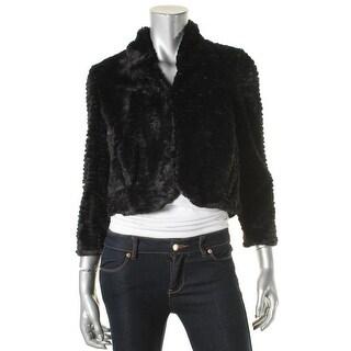 Cynthia Steffe Womens Shrug Faux Fur 3/4 Sleeves - xs