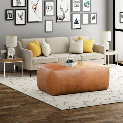 Poly and Bark Denver Leather Ottoman