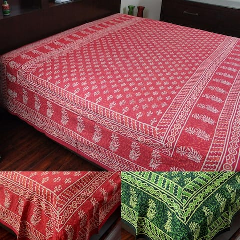 Vegetable Dye Dabu Hand Block Print Cotton Tapestry Bedspread Dorm Throw 72 x 106 inches Green Red Blue