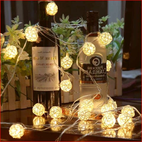 Globe Rattan Ball String Lights 13.8feet - Medium
