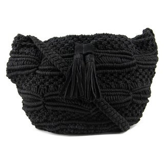 BCBGeneration Woven Drawstring Bucket Women Cotton Messenger - Black