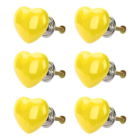 Solid Ceramic Knob Heart Shaped Drawer Pull Handle 6pcs Yellow