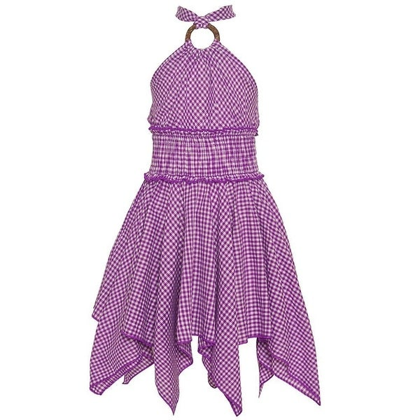 0876162c584d Shop Lele Little Girls Purple Checker Pattern Halter Strap Angled Hem Dress  - Free Shipping On Orders Over $45 - Overstock.com - 18162486