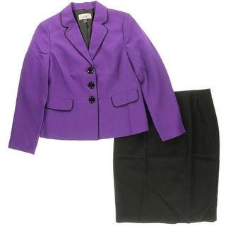 Le Suit Womens Pipe Trim 2PC Skirt Suit - 10