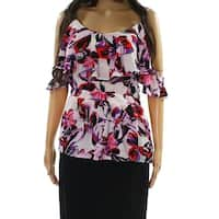 Bar III Purple Red Womens Size XL Ruffle Floral Cold Shoulder Top