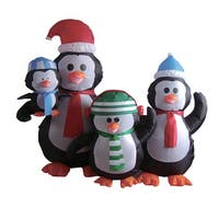 5' Inflatable Lighted Penguin Family Christmas Outdoor Decoration - black
