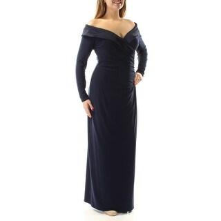 Womens Navy Long Sleeve FullLength Sheath Formal Dress Size: 12
