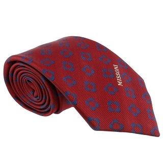 Missoni Four Petal Floral Red Woven 100% Silk Tie