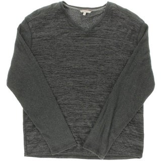 Calvin Klein Jeans Mens Printed Ribbed Knit V-Neck Sweater - XXL