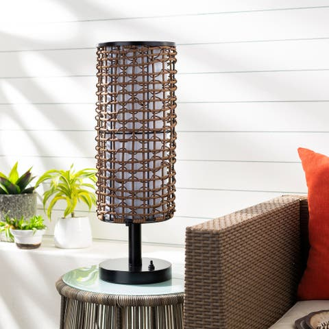 """Katelin Indoor/ Outdoor Woven 26-inch Table Lamp - 26""""H x 8""""W x 8""""D"""