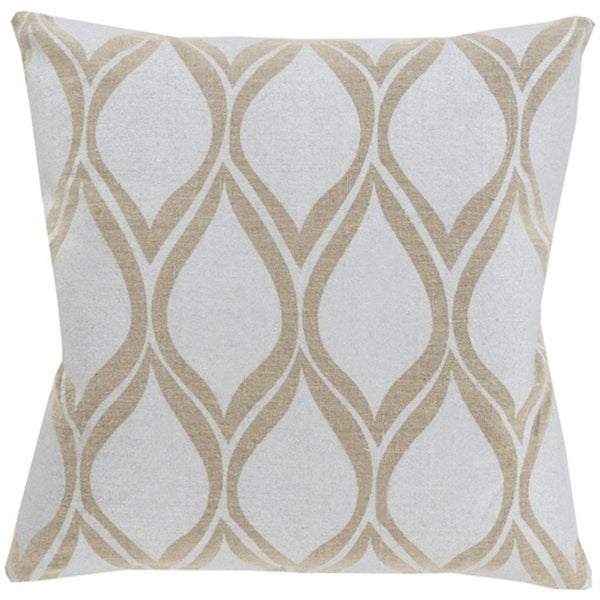 "20"" Dove Gray and Camel Brown Drops Hand Woven Decorative Throw Pillow-Down Filler"