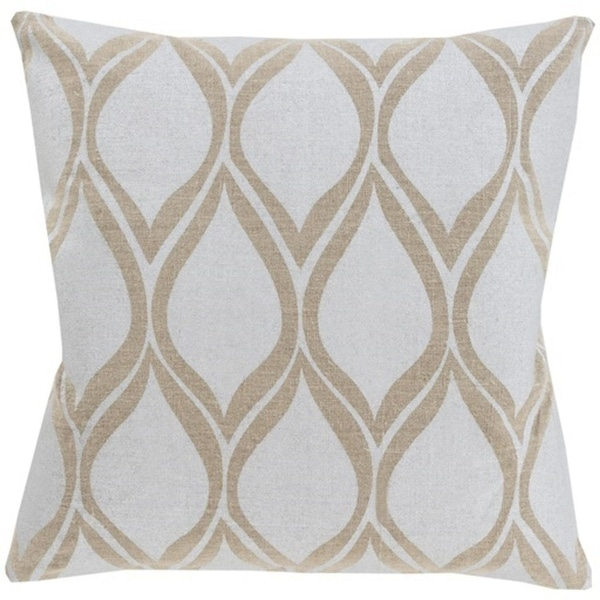 "22"" Dove Gray and Camel Brown Drops Hand Woven Decorative Throw Pillow"