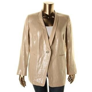 Marina Rinaldi Womens Plus Linen Shimmer One-Button Blazer