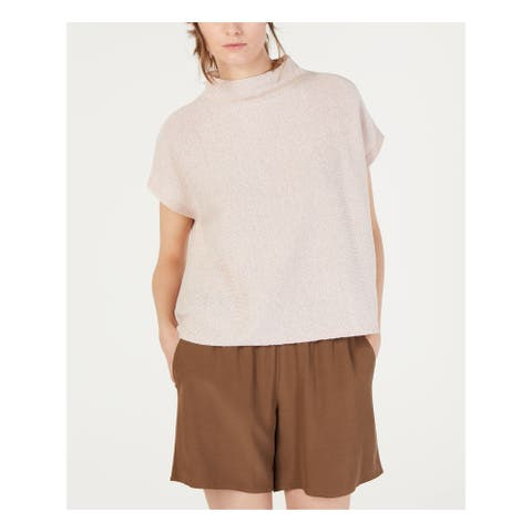 EILEEN FISHER Womens Pink Cap Sleeve Turtle Neck Top Size PP