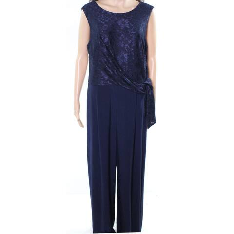 Lauren by Ralph Lauren Womens Jumpsuit Navy Blue Size 6 Lace Tie Front