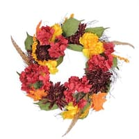 """24"""" Autumn Harvest Peony, Mum & Feather Artificial Thanksgiving Floral Wreath – Unlit - Red"""