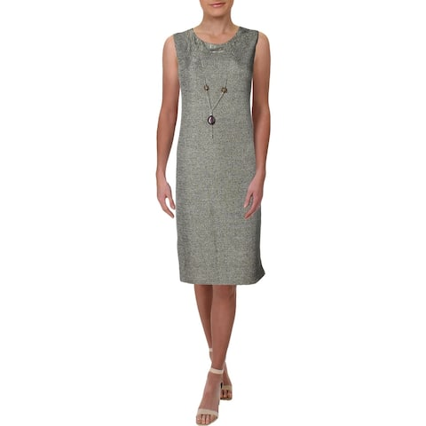 R&M Richards Womens Petites Cocktail Dress Knit Metallic - Taupe/Gold - 8P