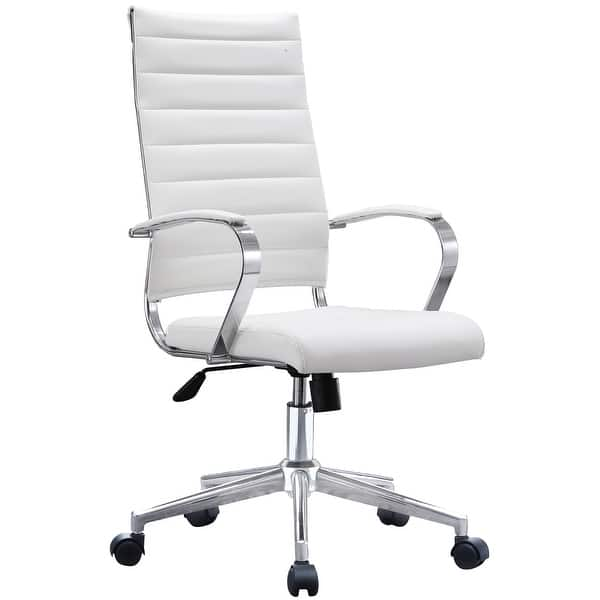 Shop 2xhome Modern White High Back Office Chair Ribbed PU ...