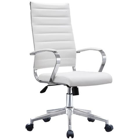 2xhome Modern White High Back Office Chair Ribbed PU Leather Manager Tilt Conference Room Computer Desk Boss Task Executive Boss