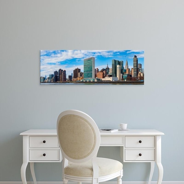 Easy Art Prints Panoramic Image 'Skyscrapers at waterfront, Headquarters of United Nations, New York City Canvas Art
