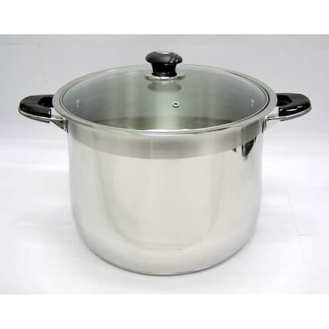 24 Qt Stainless Steel Tri-Ply Clad Heavy Duty Gourmet Stock Pot