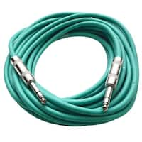 """SEISMIC AUDIO - Green 1/4"""" TRS 25' Patch Cable - Balanced - Effects, EQ, Mixer"""