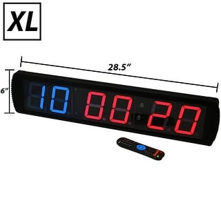 Synergee XL Premium LED Programmable CrossFit Interval Wall Timer Gym Clock with Wireless Remote - Black
