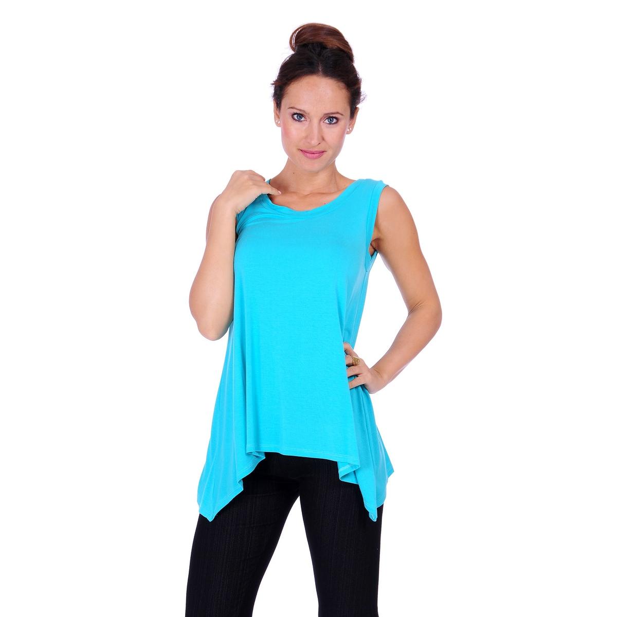 Simply Ravishing Women's Solid Round Neck Sleeveless High Low Asymmetrical Hem Tunic Top