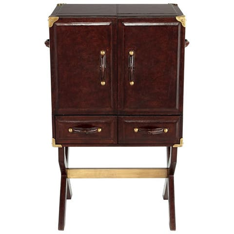 """Cyan Design Hutch Cabinet Hutch 41"""" Tall Wood and Leather Cabinet Made - Brown"""