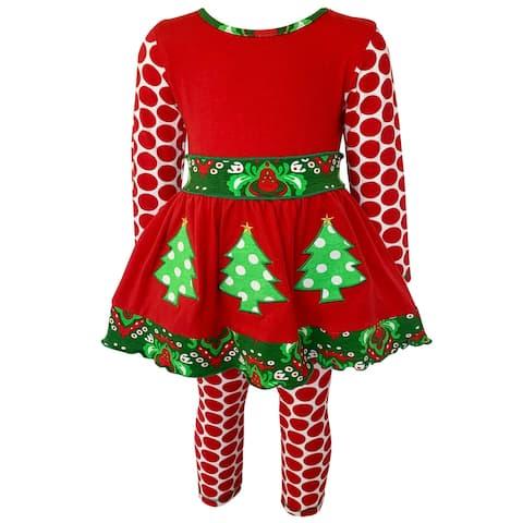 AnnLoren Girls Boutique Winter Holiday Red Green Damask Dress and Legging Set