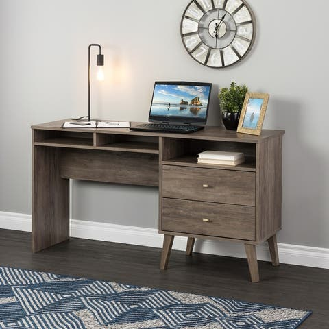 Prepac Milo Computer Desk with Side Storage and 2 Drawers