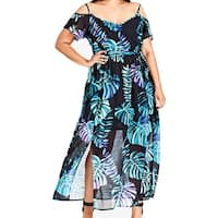 CITY CHIC Blue Womens Size 22W Plus Cold-Shoulder Maxi Dress