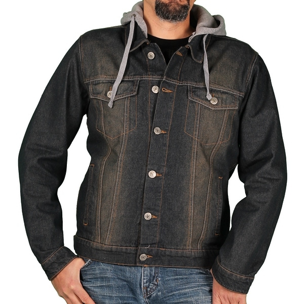 Ablanche Men's Denim Jacket w/Hood