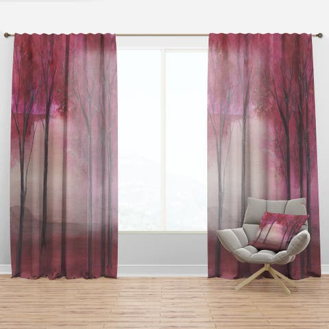 Designart 'Pink Forest' Traditional Curtain Panel