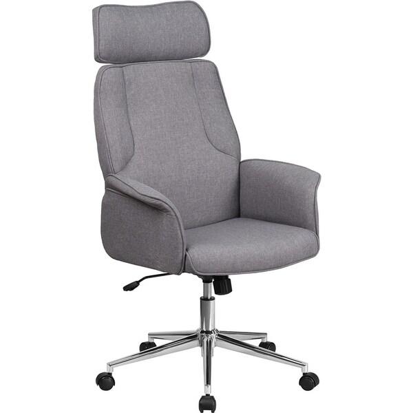 Bridgettine High-Back Gray Fabric Executive Swivel Chair w/Upholstered Arms