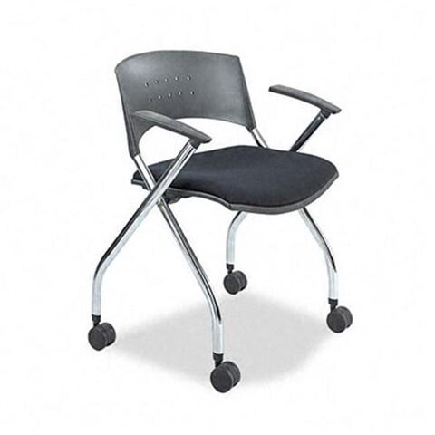xtc. Folding Nesting Chairs Black Fabric Upholstered Seat Two/Carton
