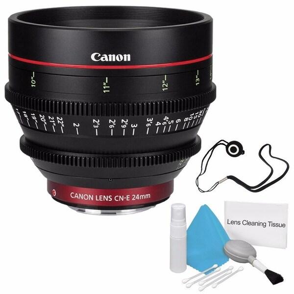 Canon CN-E 24mm T1.5 L F Cine Lens (International Model) + Deluxe Cleaning Kit + Lens Cap Keeper Bundle (AF6CANCNE2415LB2)