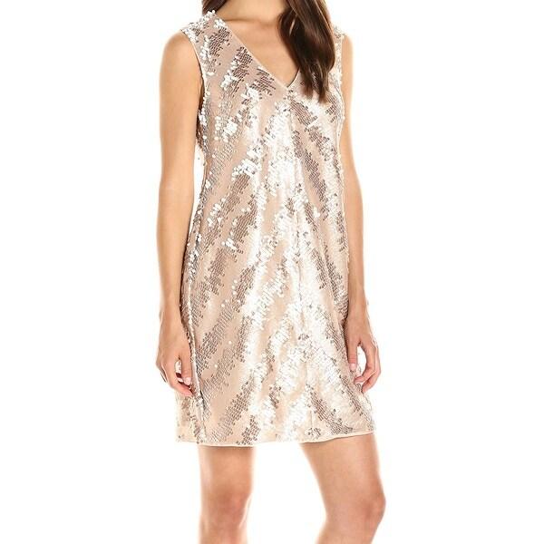 dfea8ee4ddfc4 Rachel Roy NEW Gold Champagne Womens Size 4 Sequin Stripe Sheath Dress