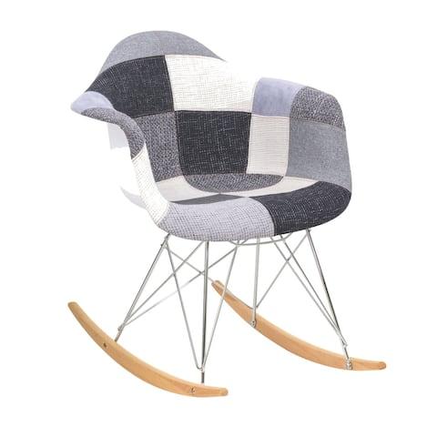 LeisureMod Wilson Twill Fabric Rocking Chair W/ Eiffel Legs