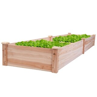 Costway Wooden Vegetable Raised Garden Bed Patio Backyard Grow Flowers Plants Planter - Wood